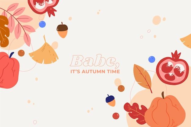 Bebé, es tiempo de otoño fondo dibujado a mano