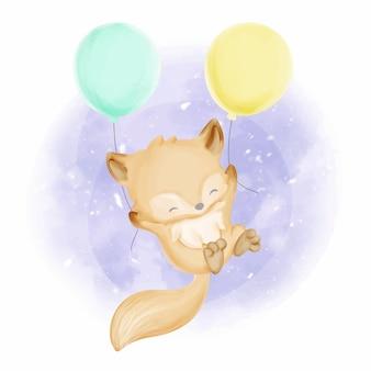 Bebé foxy con globos acuarela