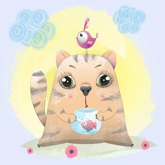 Bebé gato lindo personaje pintado con acuarela.