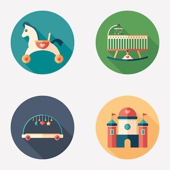 Bebé juguetes y recreación plana conjunto de iconos redondos.