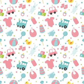 Bebé juguetes y ropa de patrones sin fisuras. recién nacido ilustración.