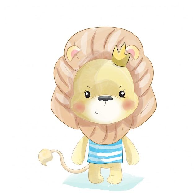 Bebé león en estilo acuarela.