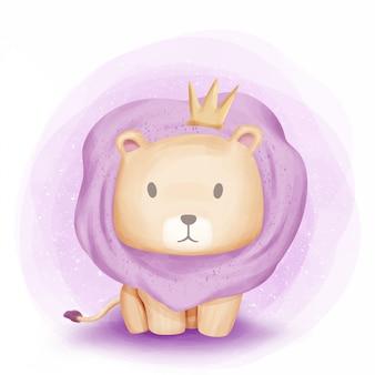Bebé león león de la selva acuarela
