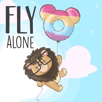 Bebé león volando