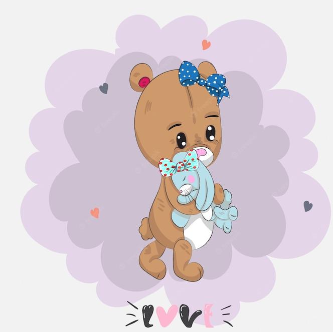 Bebé lindo oso de peluche y conejo de dibujos animados dibujado a mano