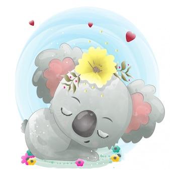 Bebé lindo personaje de koala pintado con acuarela.