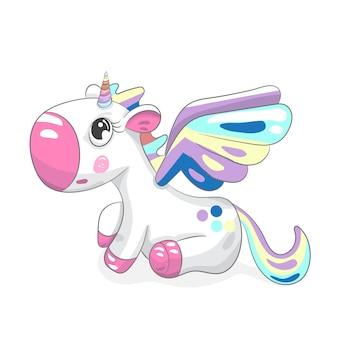 Bebé lindo unicornio dibujado a mano de dibujos animados