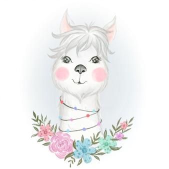 Bebé llama adorable con ilustración floral acuarela