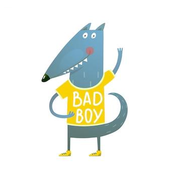 Bebé lobo o perro personaje saludo vistiendo camiseta bad boy
