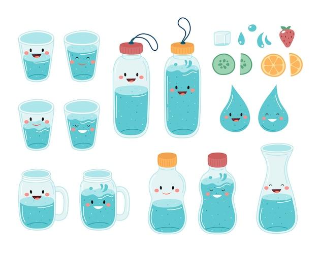 Bebe más agua. linda colección de botellas y vasos.