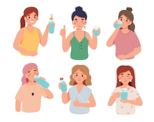 Bebe más agua. personajes de mujer con botellas y vasos de agua.