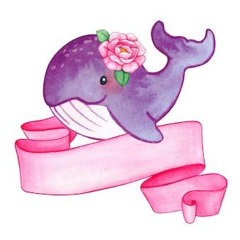 Bebé niña ballena acuarela