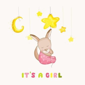 Bebé niña canguro durmiendo en una estrella - baby shower o tarjeta de llegada