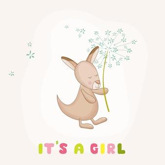 Bebé niña canguro sosteniendo una flor - baby shower o tarjeta de llegada