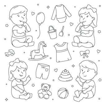 Bebé niña y niño con juguetes y ropa doodle set.