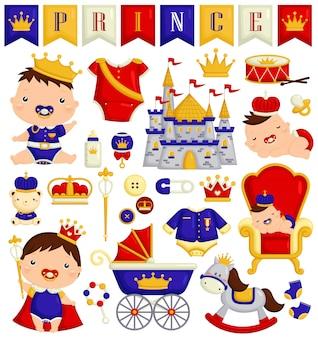 Bebé niño en conjunto de vectores de traje de príncipe