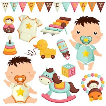 Bebé niño con juguetes vector set