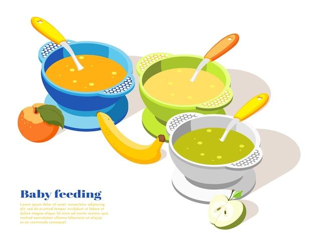 Bebé, niño, niño, comida sana, porción, isométrico, fondo, composición, con, plátano, manzana, puré, cuencos, ilustración