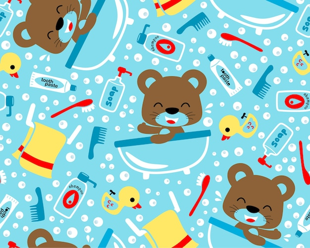 Bebé oso de dibujos animados en el baño en vector de patrones sin fisuras
