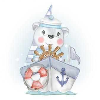 Bebé oso marinero con bote