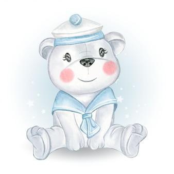 Bebé oso marinero ilustración