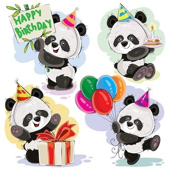 Bebé oso panda celebra vector de dibujos animados de cumpleaños