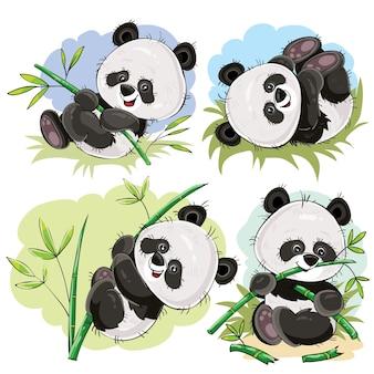 Bebé oso panda juguetón con vector de dibujos animados de bambú