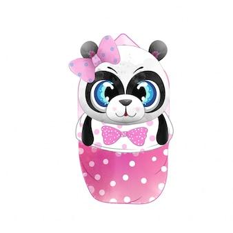 Bebé panda en estilo acuarela.