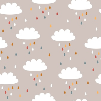 Bebé de patrones sin fisuras con lindas nubes y lluvia