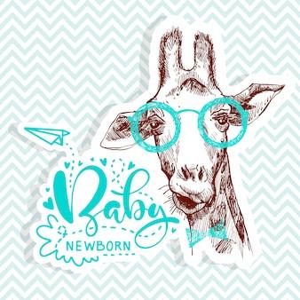 Bebé recién nacido cita con bonita jirafa para fiesta de baby shower