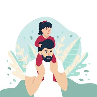 Bebé sentado sobre los hombros de papá, ilustración para las vacaciones del día del padre, concepto de familia feliz. la naturaleza deja el fondo. niña linda y su padre, la gente diseña