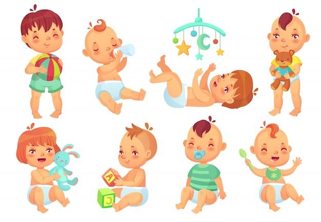 Bebé sonriente de dibujos animados