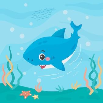 Bebé tiburón plano en estilo de dibujos animados