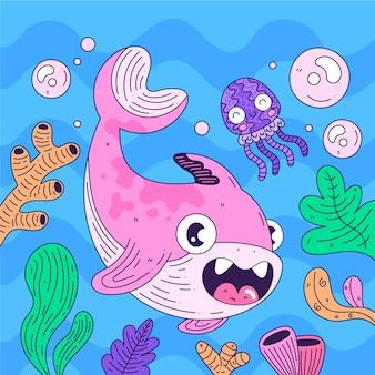 Bebé tiburón rosa y medusa feliz