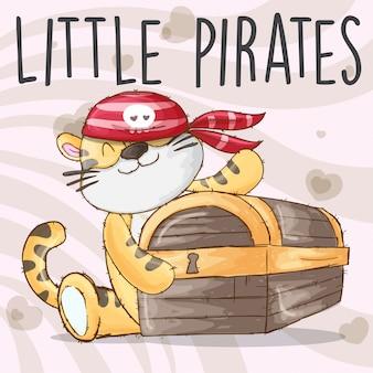 Bebé tigre piratas dibujado a mano animal -vector
