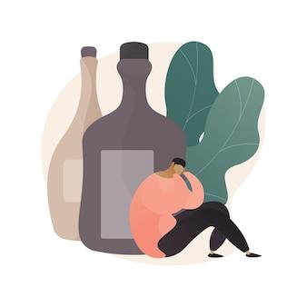 Beber alcohol concepto abstracto ilustración
