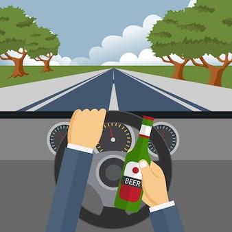 Beber alcohol y conducir concepto