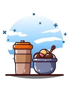 Beber botella y copa de helado ilustración de dibujos animados
