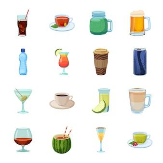 Beber conjunto de iconos de dibujos animados, cóctel y alcohol.