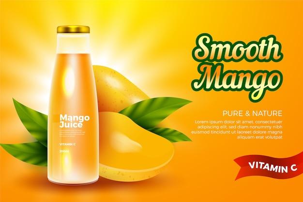 Beber plantilla de anuncios para jugo de mango