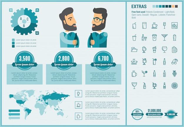 Beber plantilla de infografía diseño plano y conjunto de iconos