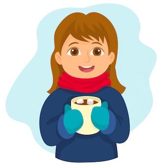 Beber una taza de chocolate caliente dulce