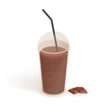 Beber en un vaso de plástico transparente con tapa y paja. batido de chocolate. bebidas, ilustración realista sobre fondo blanco.