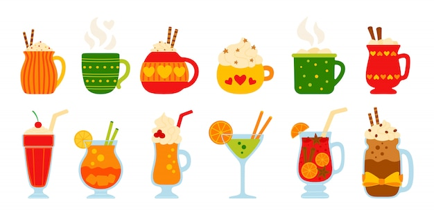Beber verano conjunto plano. dibujos animados diferentes bebidas calientes y frescas. cute tazas de cacao, café con leche, crema y vino caliente, alcohol. bebidas de fiesta decoradas dulces, malvaviscos. ilustración aislada