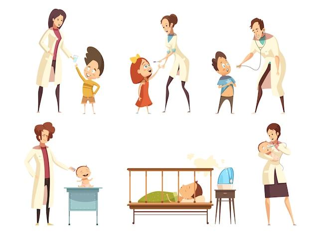 Los bebés enfermos, los pacientes, el tratamiento en el hospital, los iconos de situaciones de dibujos animados retro establecidos con las enfermeras es