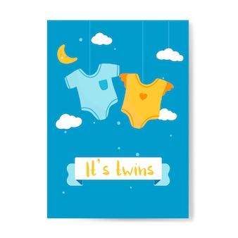 Los bebés gemelos revelan la tarjeta