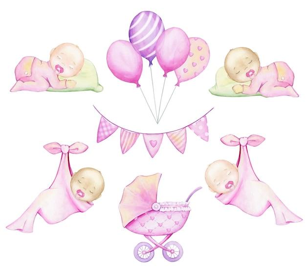 Bebés, globos, un cochecito, una guirnalda. acuarela, set, en estilo de dibujos animados.