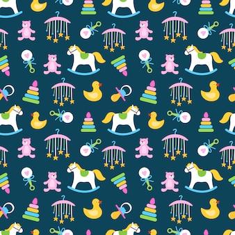 Bebés lindos juguetes de patrones sin fisuras