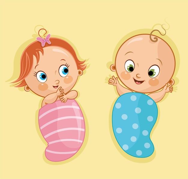 Bebés recién nacidos niño y niña sobre fondo amarillo ilustración vectorial