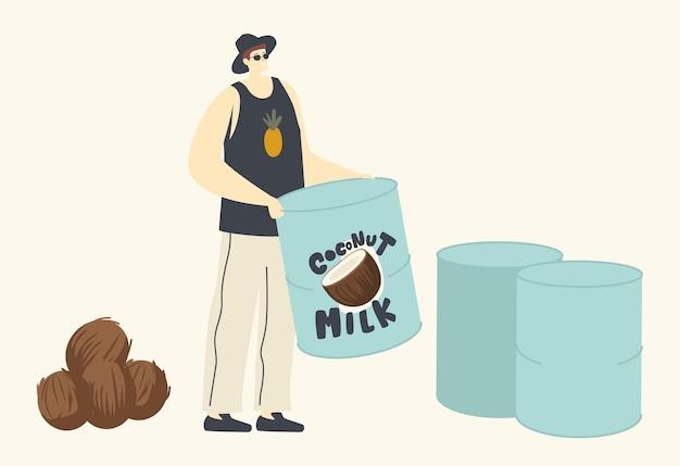 Bebida alternativa de coco sin lactosa, personaje vegano masculino que bebe leche sin lácteos hecha de coco